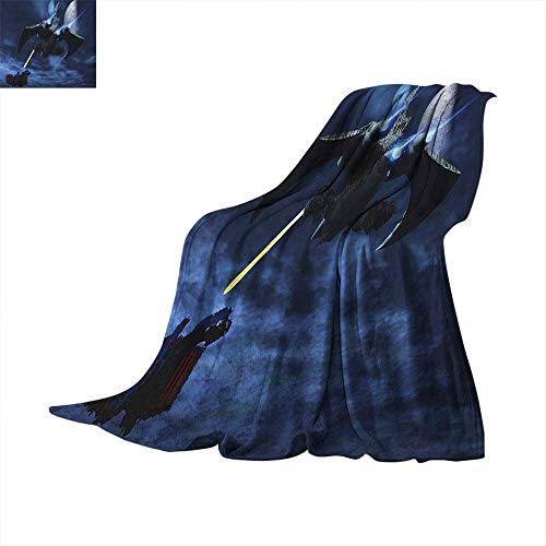 Galaxy Weave Pattern Extra Long Blanket Spaceship Blasts a Laser Beam an Enemy Battleship Galaxy Wars Outer Space Pattern Lightweight Extra Big 62