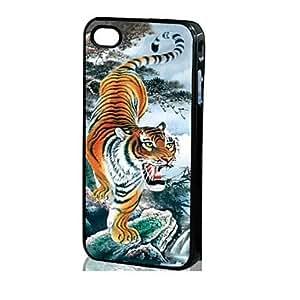Modelo del tigre 3D duro caso para iPhone 4/4S , Multicolor