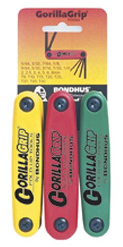 Hex Star - Bondhus 12533 GorillaGrip Hex and Star Fold-up Triple Pack, 12587 (2-8mm), 12589 (5/64-1/4-Inch) & 12634 (T9-T40)