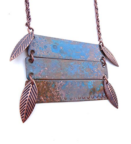 Copper Boxed, Rectangle Linked Necklace with Copper Patina/Turquoise finish and Polished, Oxidized Copper Leaves Accents with Chain