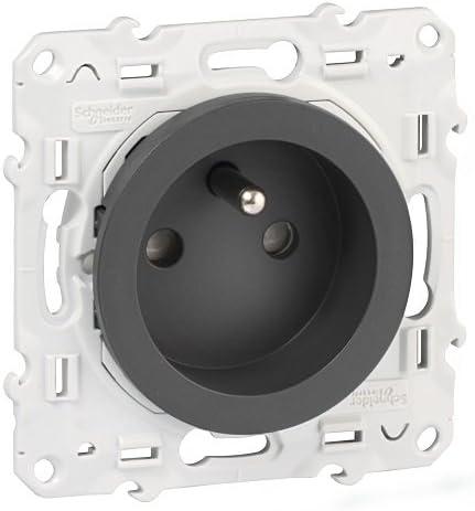 Enchufe con toma de tierra Schneider Electric SC5S53A059 Odace color aluminio 2P+T, 230 V