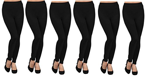 (Ruthy's Apparel 6 Pack Fleece Lined Leggings Xx-large Black)