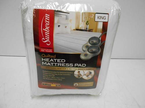 Sunbeam Heated Mattress Pad | Quilted Polyester, 10 Heat Settings , White , King - MSU3GKS-P000-12A00