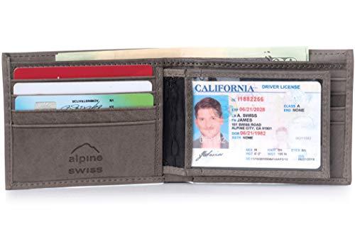 - Alpine Swiss Men's RFID Blocking Leather High Capacity Bifold Wallet Gray