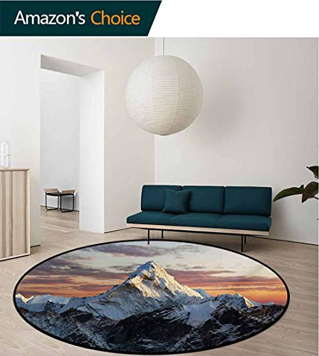 RUGSMAT Mountain Round Kids Rugs,Evening South Asian High Mountain Above The Sky with Colorful Nepal Everest Photo Non Skid Nursery Kids Area Rug for Bedroom Machine Washable,Round-55 Inch