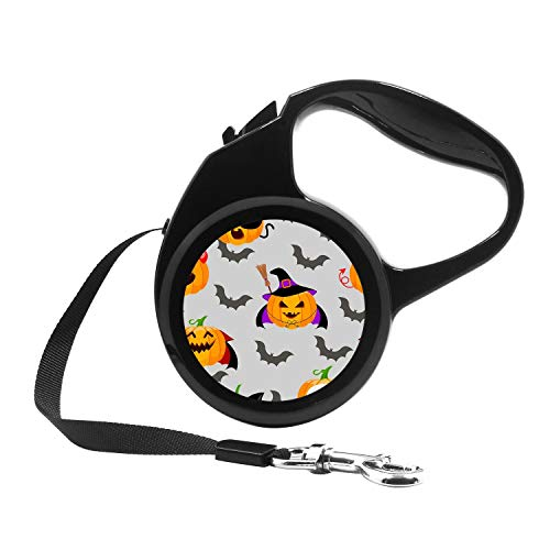 Retractable Dog Leash, 7ft Dog Walking Leash for Small Dogs up to 26lbs, One Button Break & Lock, Unique Design - Halloween Evil pumking Wearing Witch hat and Flying bat]()