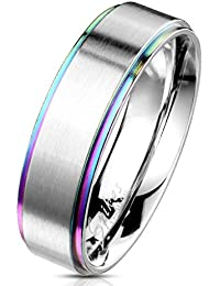 Rainbow Stepped Edge with Brushed Finish Center Stainless Steel Band Ring