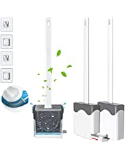 Flex Silicone Toilet Brush with Quick Drying Holders, No-Slip Long Handle Toilet Brushes for Bathroom, Wall-Mounted Deep-Cleaning Flat Toilet Brush Cleaner