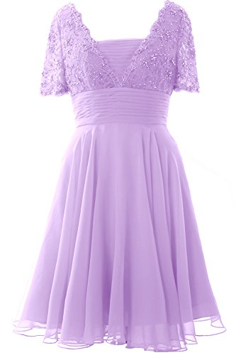 Gown Dress Elegant Bride Short MACloth Lavendel Formal the Cocktail of Lace Sleeve Mother Pdw10wqH