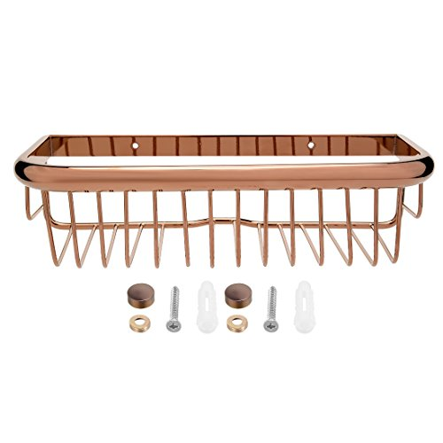 uxcell 12-inch Length Brass Rectangle Shape Bathroom Shower Caddy Basket Rose Gold -