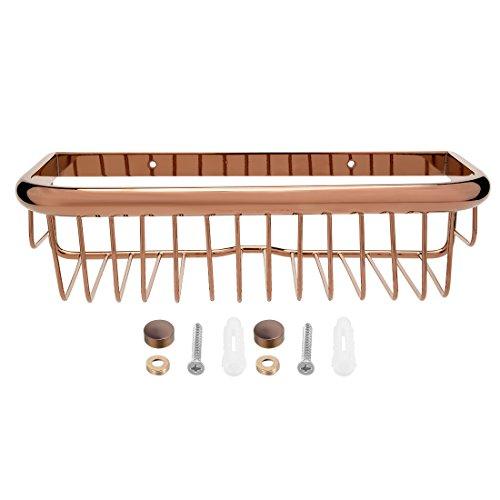 uxcell 12-inch Length Brass Rectangle Shape Bathroom Shower Caddy Basket Rose Gold