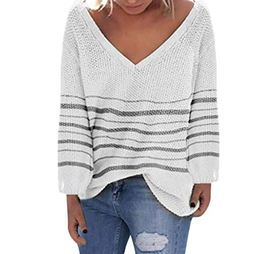 - Dainzuy Womens Pullover Sweaters Plus Size Lightweight Striped Knit V Neck Loose Long Sleeve Fall Jumper Tops Sweater White