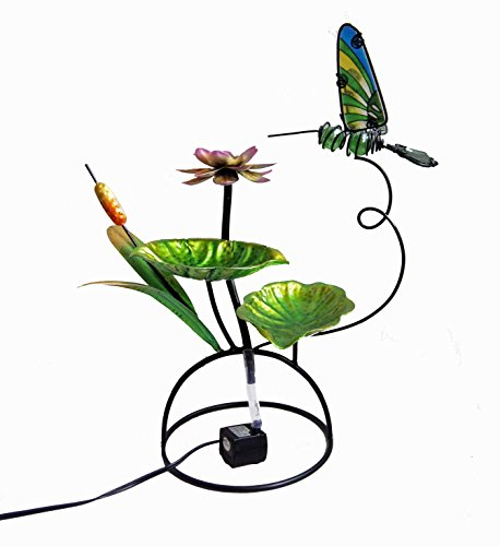 Hummingbird Metal - Continental Art Center Metal and Glass Hummingbird Fountain, 18 by 18 by 13-Inch