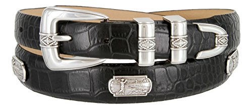 Summer Italian Leather Belt with Golf Swing Medallions 1-1/8