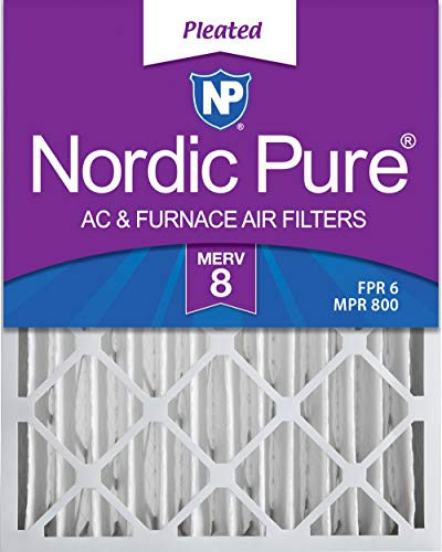 Nordic Pure 16x25x4 (3-5/8 Actual Depth) MERV 8 Pleated AC Furnace Air Filters, 2 Pack
