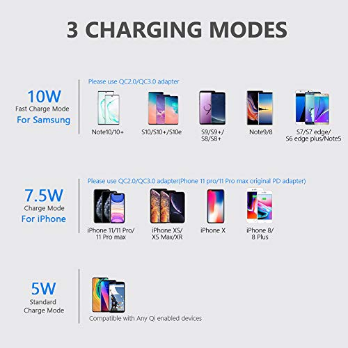 Yootech Wireless Charger, 10W Max Qi-Certified Wireless Charging Stand with Quick Adapter,Compatible with iPhone 12/12 Pro/12 Mini/12 Pro Max/SE 2020/11 Pro Max, Galaxy S21/S20/Note 10 Plus/S10/S9