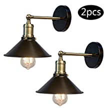 OYGROUP (2 pcs) Wall Sconces Light All Black E27 60W Wall Industrial Vintage Edison Simplicity Lamp Fixture Steel Finished for Cafe Club Bedroom Livingroom Hotel (No bulb)