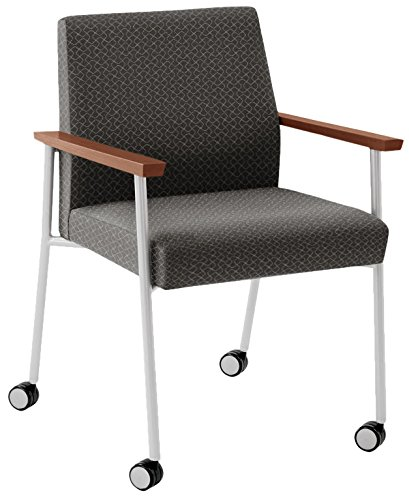Lesro Mystic Oversize Guest Chair with Casters in Silver Frames & Mahogany Arms, Axis Noir (Lesro Fabric Guest Chair)