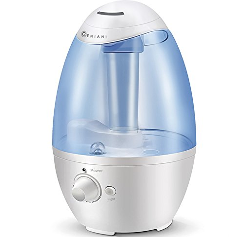 Ultrasonic Cool Mist Humidifier - Best Air Humidifiers for Bedroom / Living Room / Baby with Night Light - Whole House Solution - Large 3L Water Tank - Auto Shut Off & Filter-Free - Gift Box, GENIANI