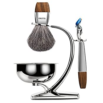 For Father's Day! Grutti Premium Shaving Brush Set With Luxury Brush Stand & Brush Holder For Soap Bowl & Manual Razor (Fusion 5) Kits For Men (Badger Hair Version) 0
