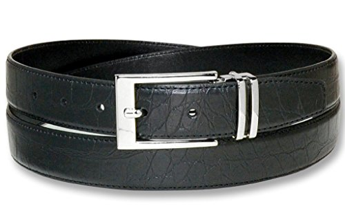 Croc Pattern BLACK Color Crocodile Bonded Leather Men's Belt Silver-Tone Bckl 44