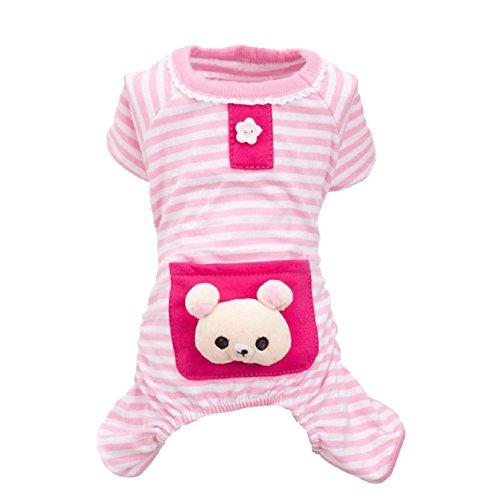Malloom® Pequeño Mascotas Perros rayas pijamas Buzos Abrigos Ropa (XS, rosa)