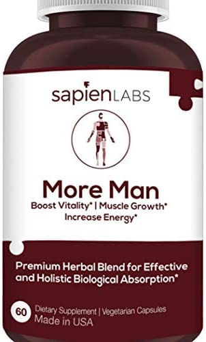 Testosterone Booster for Men – Made in USA – Horny Goat Weed, Shilajit, Maca Root – Build Muscle, Calm Anxiety, Improve Vitality – Premium, Holistic Herbal Blend by Sapien Labs