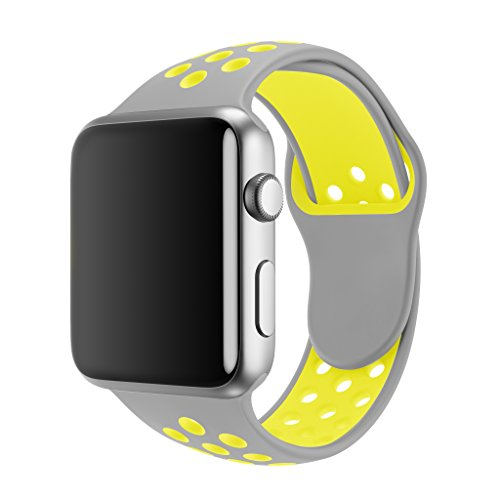 SMEECO Compatible with Apple Watch Band 42mm 44mm,Soft Breathable Silicone Strap Replacement iWatch Bands for Apple Watch Series 3, Series 2, Series 1 Sport Nike (42mm/44mm S/M)