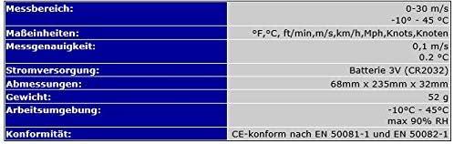 OCS.tec ANEMOMETRE Kite Kitesurf Windsurf Voile Naviguer Beaufort WM1