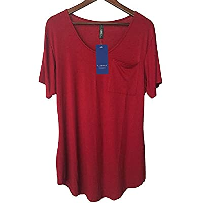 Allegrace Womens Casual Scoop Collar Plus Size T Shirts Summer Tops Tee: Clothing