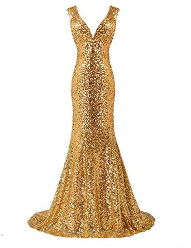 Double Women's Ballkleid Seuin V Dresses Abendkleid Brautjungfernkleid Fanciest Mermaid Neck Gold 1aRx5xwq