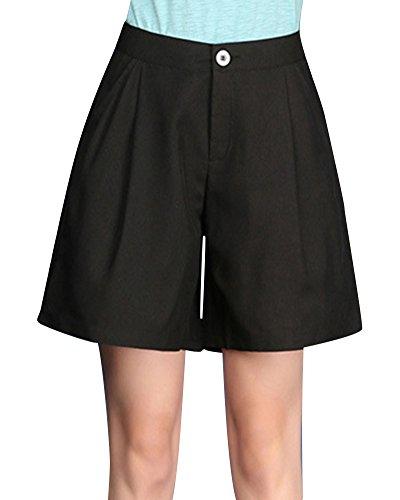 A Eleganti Vita Alta Shorts Pantaloncini Corti Nero Larghi Casuale Donna xAB4Awq7PF