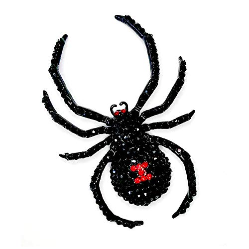 Giant Black Widow Crystal Spider Pin