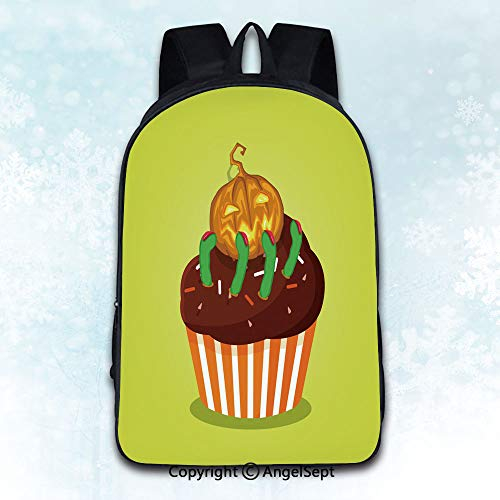 Multi-Function Stylish Knapsack,Cute happy halloween cupcake with pumpkin jack and scary green Multicolor 16 inches,Anti-Theft Rucksack Double Shoulder Bag]()
