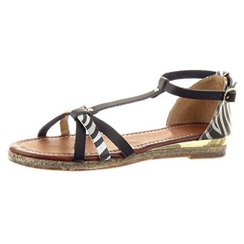 Sopily - damen Mode Schuhe Sandalen T-Spange glänzende Seil leopard - Schwarz