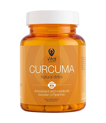 CURCUMA – Bio Organic Turmeric Curcumin + Black Pepper. Natural Detox and Antioxidant and Anti-inflammatory Superfood Pills. 60 Veggie Capsules