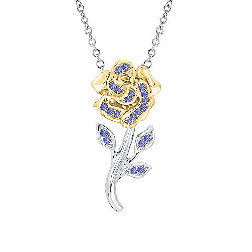 tusakha Beautiful Rose Flower Blue Tanzanite Pendant Necklace 14K White & Yellow Gold Over 925 Sterling Silver for ()