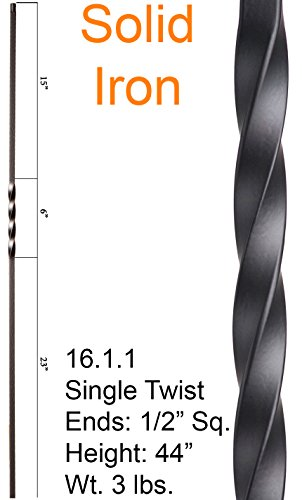 (Satin Black 16.1.1 Single Twist Iron Baluster for Stair Remodel, Box of 5)