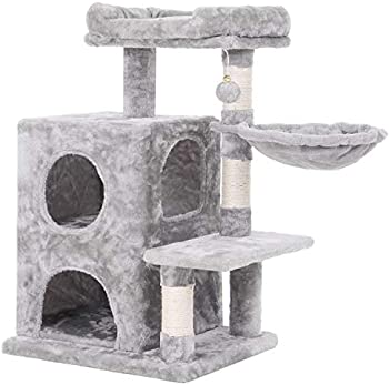 BEWISHOME Cat Tree Cat Condo Cat Tower with Basket