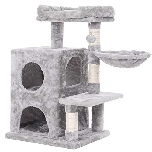 BEWISHOME Cat Tree Condo with Sisal Scratching Posts, Plush Perch, Dual Houses and Basket, Cat Tower Furniture Kitty Activity Center Kitten Play House, Light Grey MMJ06G ()