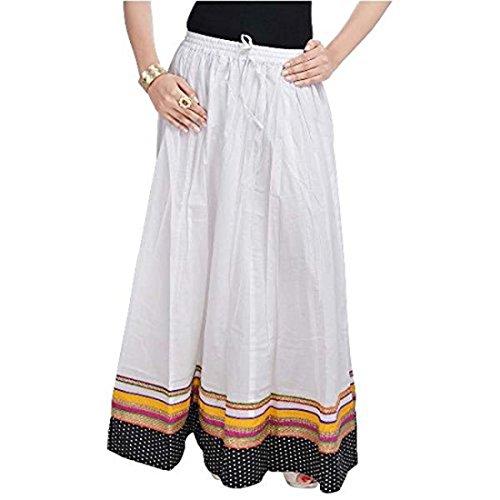 Women SMSKT510 Full Length White Red Skirt T0vTq