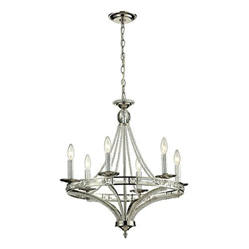 ELK Aubree Collection 6 light chandelier in Polished Nickel - 31501/6