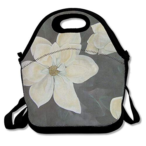 ELKFOREST Flowers Magnolia Gardenia Lunch Bag Neoprene Insulated Lunch Tote Portable Lunchbox Handbag with Adjustable Crossbody Strap, Zip Closure for Men Women Adults ()