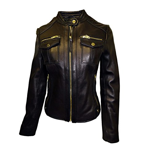 (Michael Kors Moto Leather Jacket-Black-M)