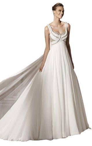 - Biggoldapple A-Line/Princess Sweetheart Court Train Chiffon Wedding Dress With Ruched/Beading 14 Ivory