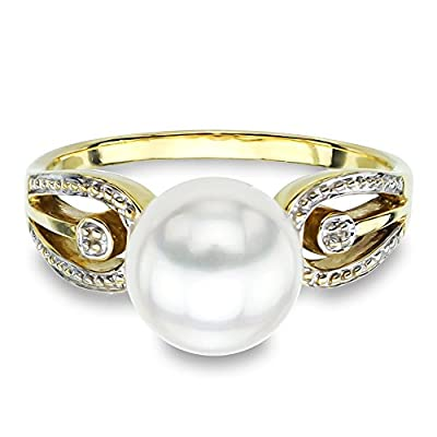 14k Yellow Gold Illusion 8-8.5mm White Freshwater Cultured Pearl Solitaire Design Ring from La Regis Jewelry