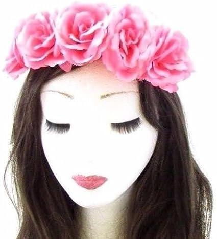 Halloween Rose Flower Skull Hairband Garland Elastic Headband UK Freeshipping