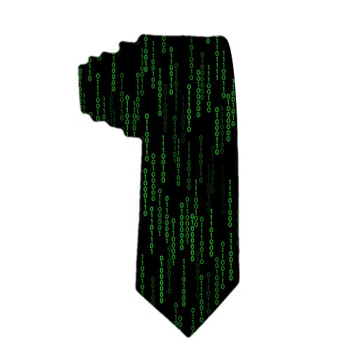 SARA NELL Men's Classic Woven Business Tie Silk Necktie Programmer Dark Green Pattern With Binary Code Neck Ties