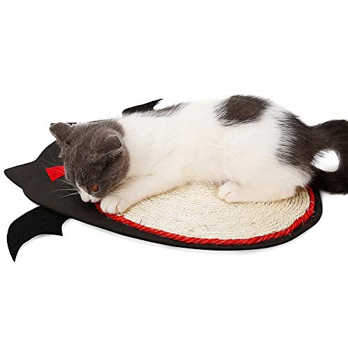 Albabara Cat Scratching Pad Mat Natural Sisal Cat Scratcher Board Halloween Bat Design Abrasion-Resistant for Cat/Kitty Sleeping Grinding Claws & Protecting -