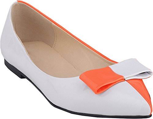 CFP YSE-020-1QP Womens Low Top Prevalent Lightweight Flat Boat Shoes Bowtie Shallow Mouth Breathable Pointy Toe Penny Loafers Non Skid Comfy Relaxing Slip On Slide Slippers Orange iV8MZ5
